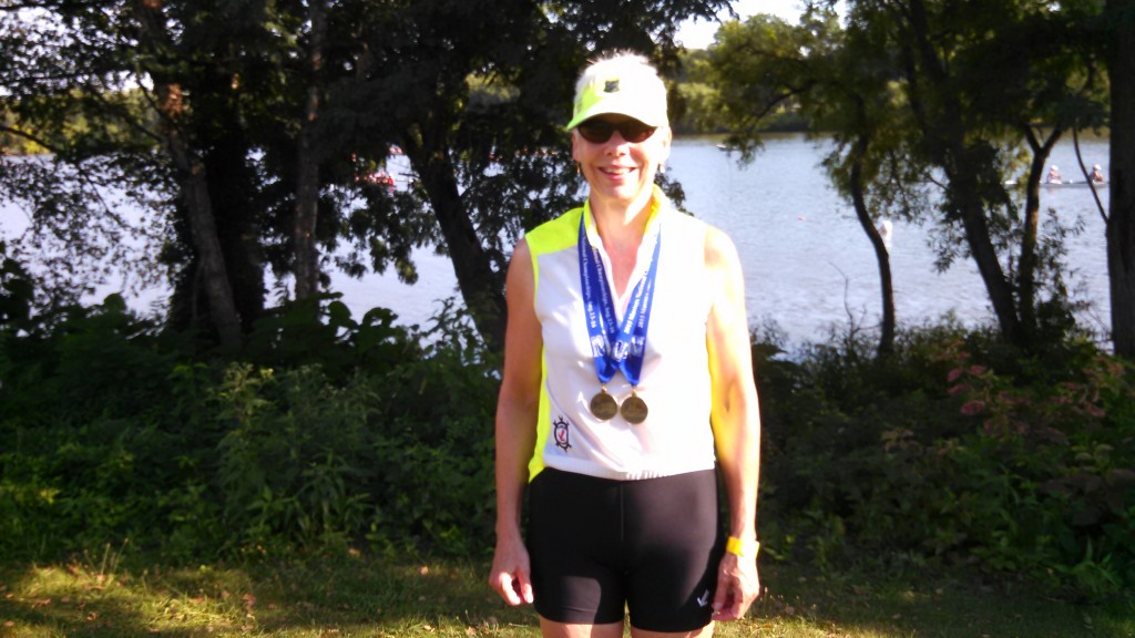 Pat Glover, National Champion in the Womens Open F Single. USRowing Masters Nationals in Camden, NJ, 8/14/2015